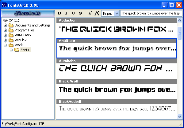 The best TrueType font browsing utility for creating CD font collections
